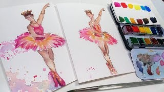 Ballerina Beginner Watercolor Tutorial