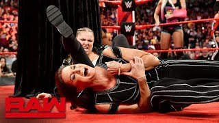 Ronda Rousey locks Stephanie McMahon in an Armbar during title presentation: Raw, Aug. 20, 2018