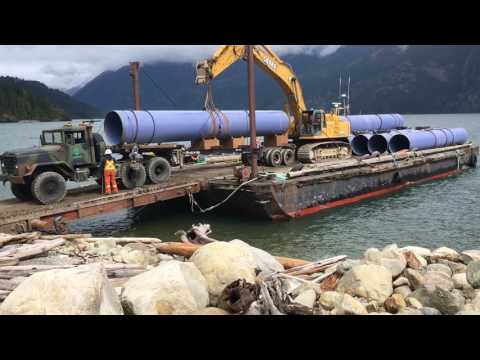 Steel Penstock Pipe loading and unloading - Time lapse
