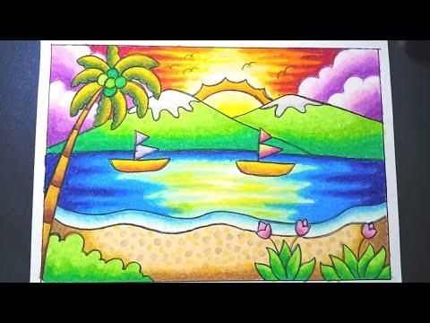 Menggambar Dan Mewarnai Pemandangan Pantai Dengan Gradasi Crayon Drawing Beach Scenery Easy