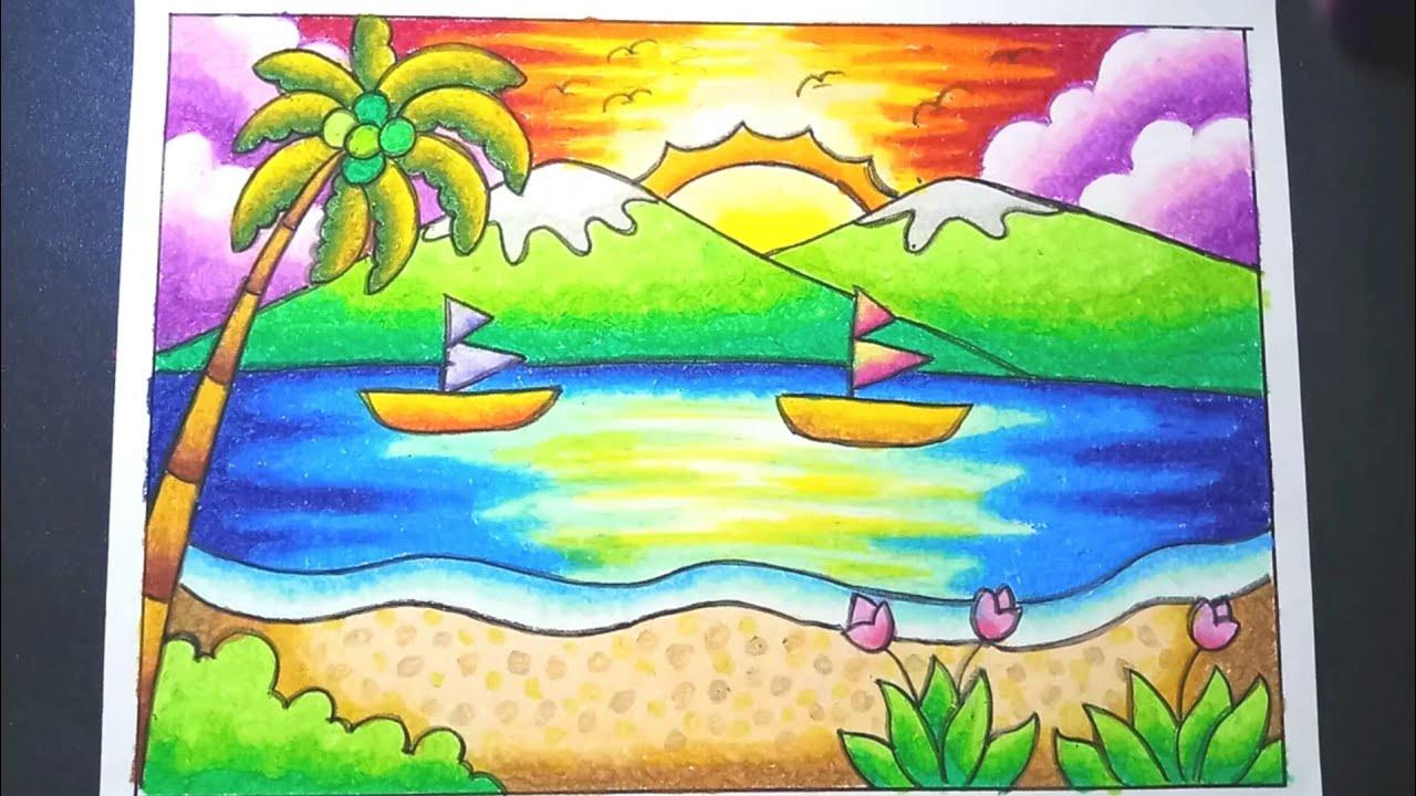 Menggambar Dan Mewarnai Pemandangan Pantai Dengan Gradasi Crayon Drawing Beach Scenery Easy Youtube
