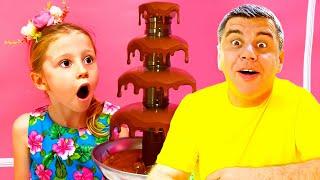 Nastya y papá bromean con dulces y chocolates
