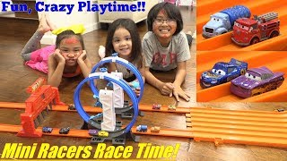 Racing TOY CARS! Hot Wheels Racing, Disney Cars Mini Racers Edition. Fun Toy Car Playtime with Kids!