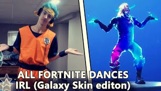 ALL FORTNITE DANCES IN REAL LIFE! (Galaxy skin edition) (Living large, work it out & more!)