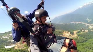 Горы. Полет на параплане. Роза Хутор пик 2320 м. Сочи