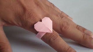 сделать Кольцо с Сердцем из Бумаги (без клея) Маме Сестре Подруге Поделки своими руками с детьми