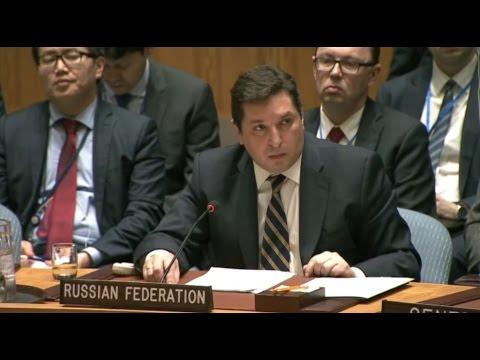Совбез ООН: Выступление заместителя постпреда России при ООН В Сафронкова по Сирии12 04 2017