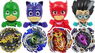 Beyblade super zetsu B-129, 130 appeared! PJ Masks Vs Romeo, Ninja battle! #DuDuPopTOY