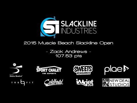 Zack Andrews  2015 Muscle Beach Slackline Open   VIDEO