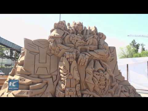Giant creations at Sand Sculpture Festival in Kazakhstan's Almaty