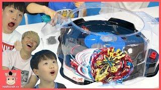 베이블레이드 버스트 갓 장난감 팽이 놀이 대결 ! 엑스칼리버 팽이 말이야 미니 로기 승자는? ♡ beyblade burst kids toys |말이야와아이들 MariAndKids