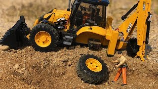 Bruder JCB Tractor Excavator Backhoe Lost Wheel! Construction Site Action for Kids!