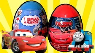 Repeat youtube video Surprise Thomas & Friends Holiday Edition Disney Cars Easter Eggs Awesome Toys Surprise