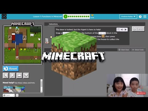 How to Code MINECRAFT in Code.org: Course F Lesson 1: Functions in Minecraft Puzzle 1