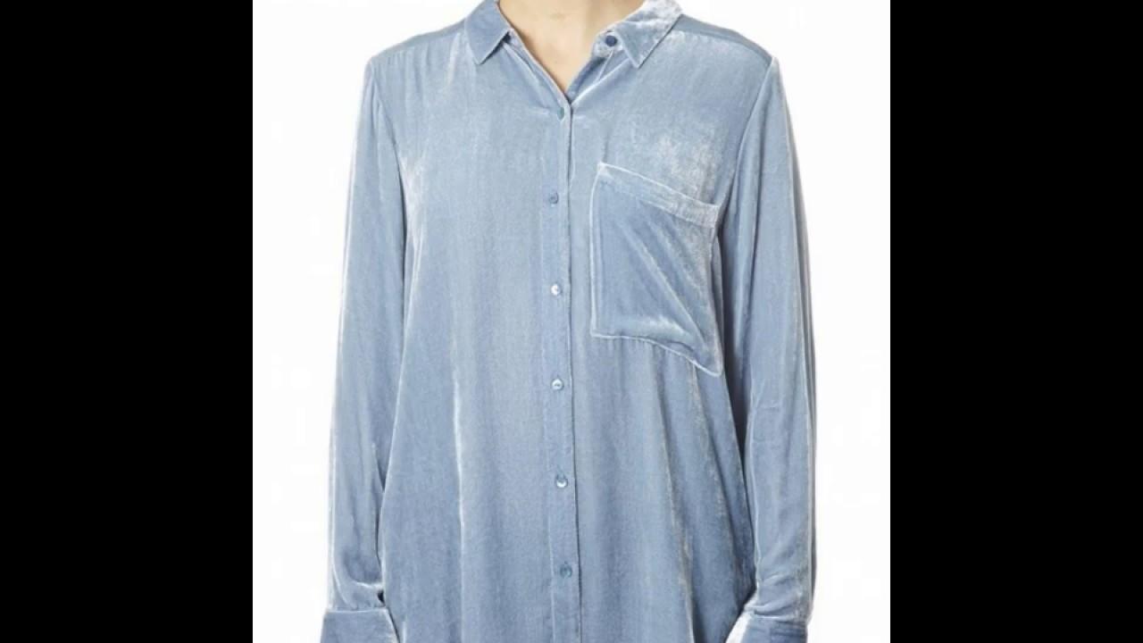 a8de3c9183eb1 Eileen Fisher Velvet Midnight Blue Classic Collar Shirt