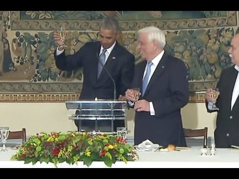Obama And Greek President Pavlopoulos Offer Toasts