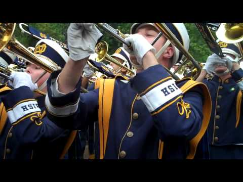 Notre Dame Band Fight Song Marching Across Campus