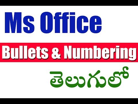 Ms Office in Telugu (Bullets and Numbering)