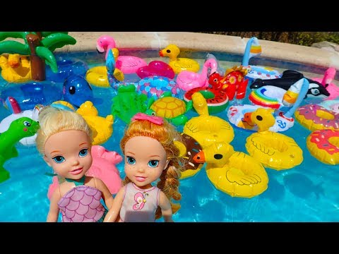 Elsa and Anna toddlers pool party with their friends
