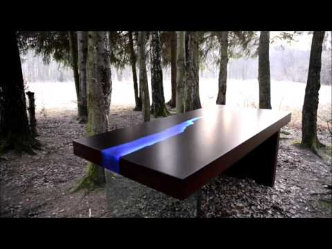 Kasparo I Amazing Table with resin and LED technology comes alive when a person enters the room