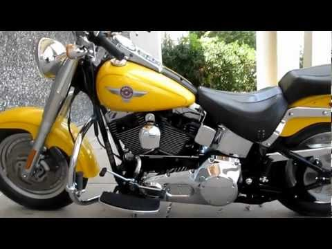 2006 Harley-Davidson Fat Boy, Pearl yellow, Samson Street Sweeper exhausgt, for sale