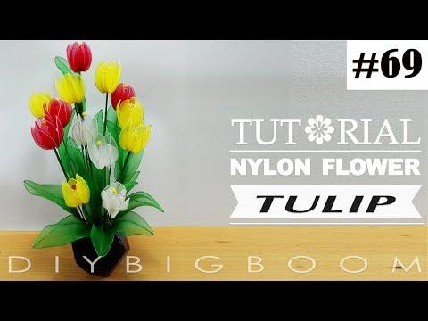 Nylon stocking flowers tutorial #69, How to make Tulip nylon stocking flower