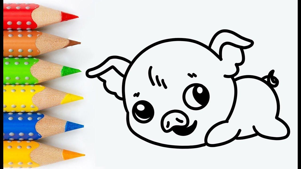 Cara Menggambar Dan Mewarnai Anak Babi Lucu 🐷 Mewarnai