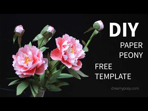 [FREE template]: How to make paper peony flower from printer paper