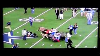 Good quality with slow motion replay! a runaway golf cart comes out of nowhere and hits plows into coach reporters. caught this at the end te...