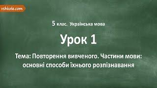 #1 Повторення вивченого. Частини мови. Відеоурок з української мови 5 клас