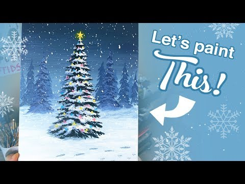 How to Paint a Christmas Tree! - DIY Christmas Gift (Acrylic Painting Tutorial)