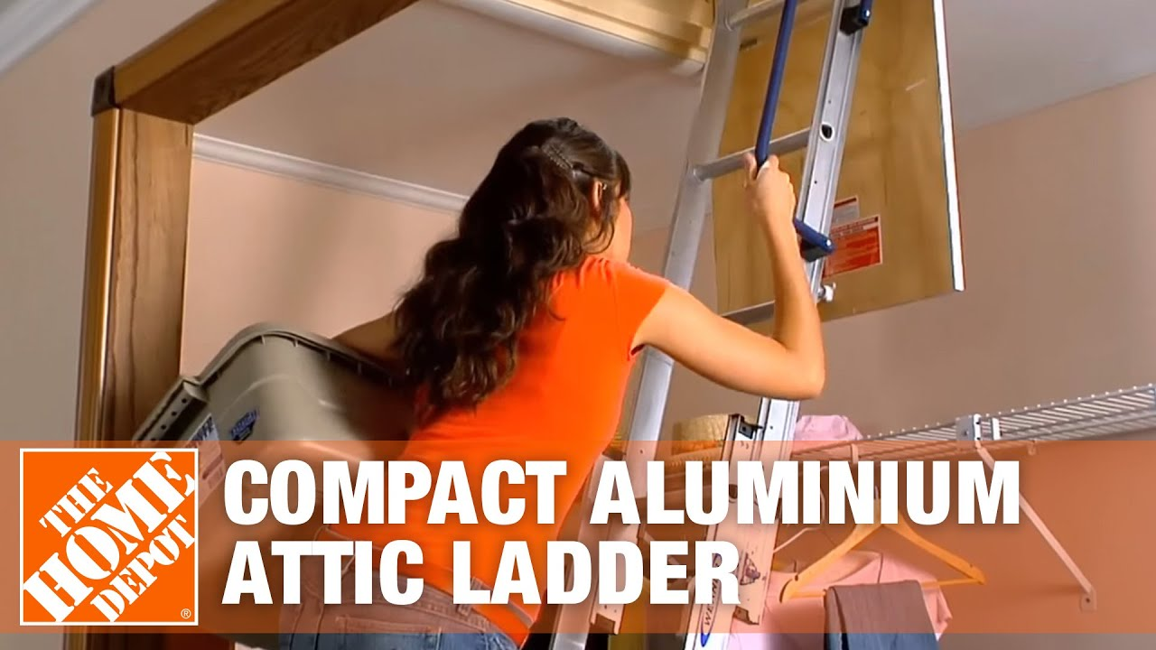 Werner Compact Aluminum Attic Ladder   YouTube