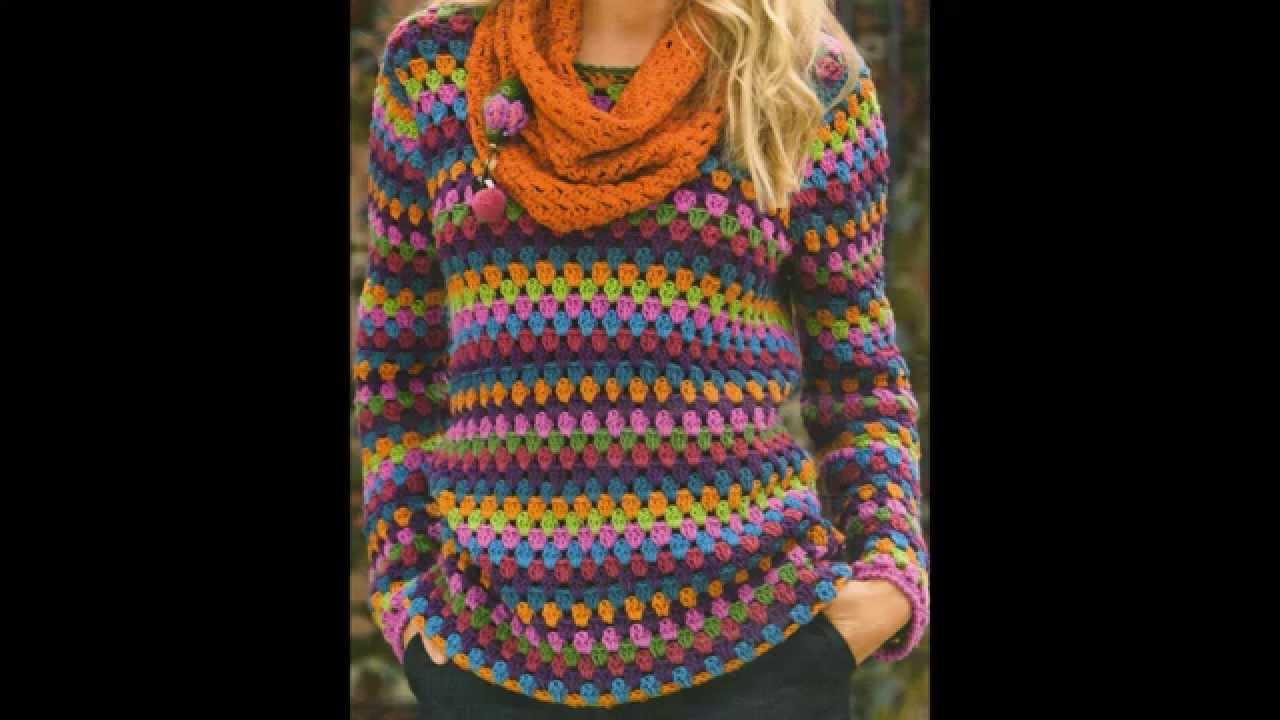 Como tejer jersey multicolor para principiantes a crochet - Como hacer punto de lana para principiantes ...