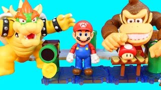 World Of Nintendo Super Mario Bros. Mario Luigi with Donkey Kong Bowser Toys and Playset