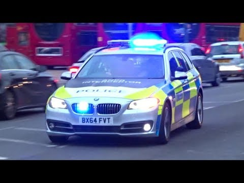 London Police cars responding to disturbance x2 | BMW 525d 'ANPR Interceptor' + BMW 218i