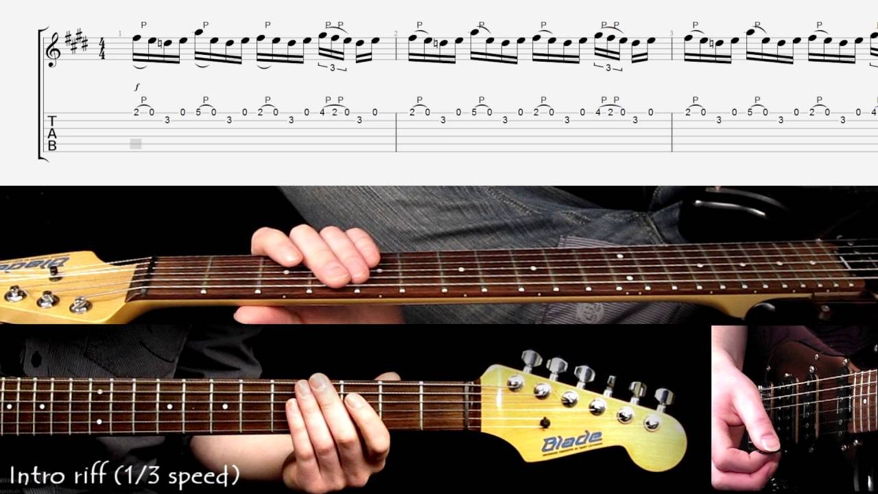 The Spirit Of Radio Intro Guitar Riff Played At Different Speeds With Score And Tab Youtube