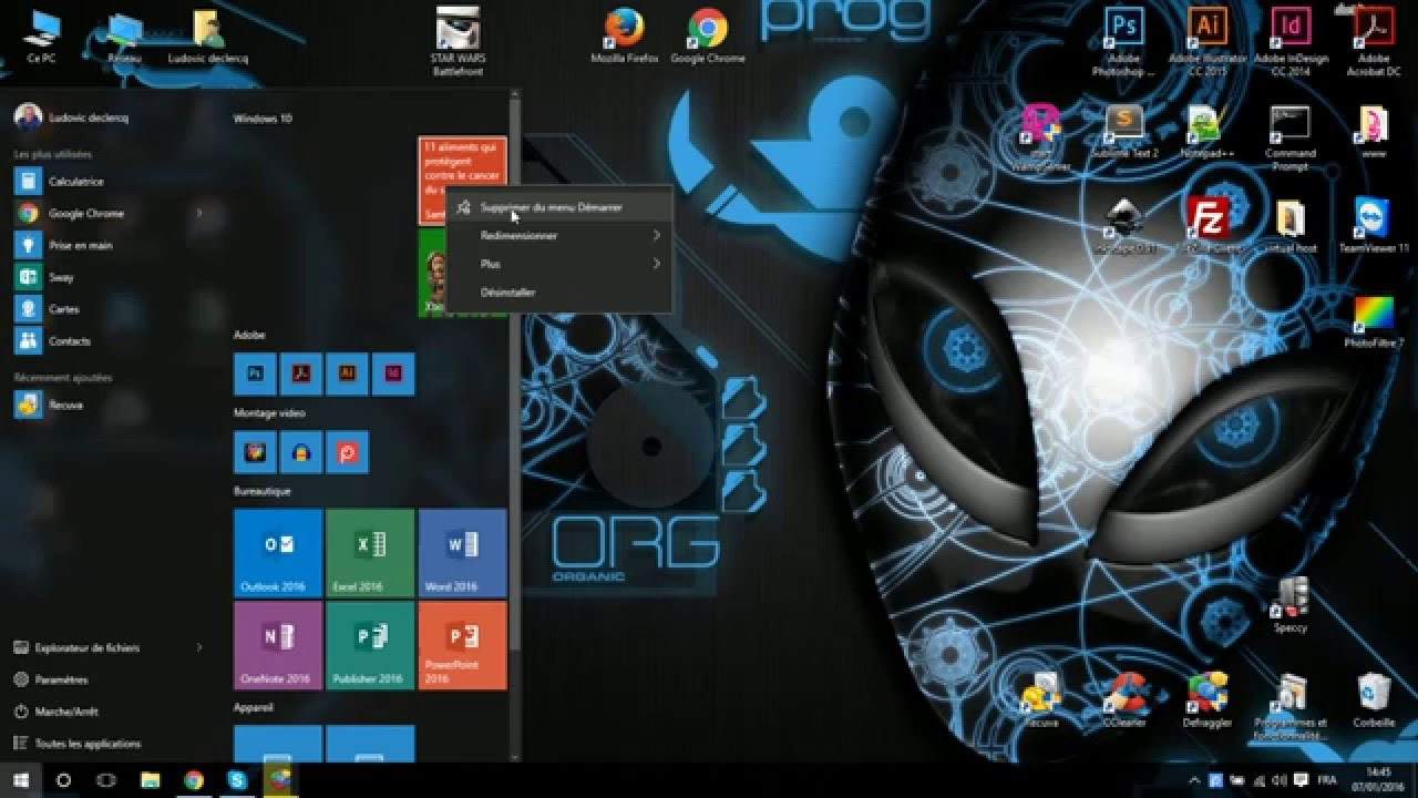 Tuto fr personnaliser et organiser le menu demarrer de windows 10 youtube - Bureau virtuel windows 7 ...