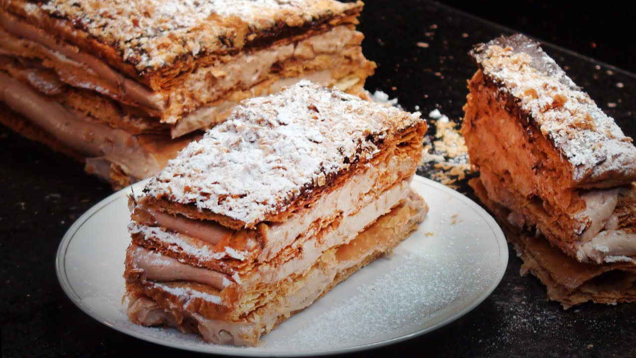 how to make mille feuille with chocolate hazelnut praline youtube. Black Bedroom Furniture Sets. Home Design Ideas