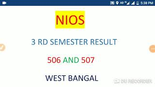 NIOS 3rd examination results 506/507
