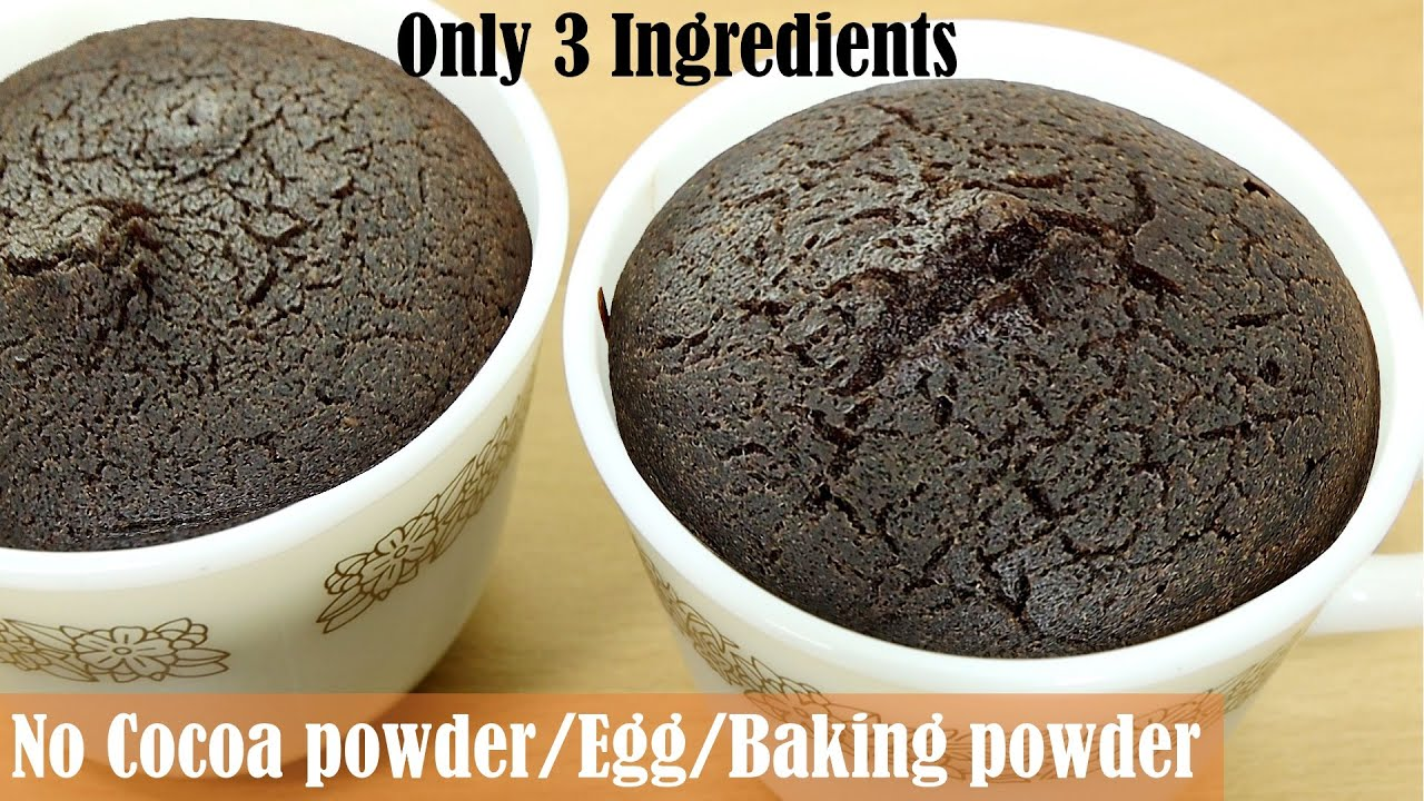 3 Ingredients Chocolate Mug Cake In 15 Minutes No Chocolate Cocoa Powder Without Oven Egg Youtube