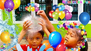 Kids Toys Record 960fps Slow Motion Exciting Water Balloons Popping Up Bubble Water Ballons