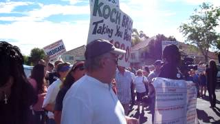 AFSCME at Berkely counter rally to Koch Bros AFP rich bus tour, Pro Berkley group chanting for Koch Bros to get back on the bus and go