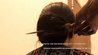 ASMR LONGHAIR BRAID BUN PLAY CARE TUTORIAL FOR HUSBAND TO BECOME HAPPY WITH LONGHAIRED GODDESS WIFE