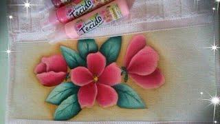 Pintura de flores silvestres em toalha de lavabo (parte1)