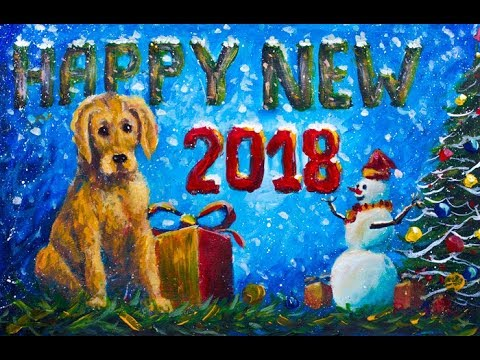 Part 2 How to paint New Year greeting card! Symbol 2018 yellow Dog, cheerful snowman by Rybakow