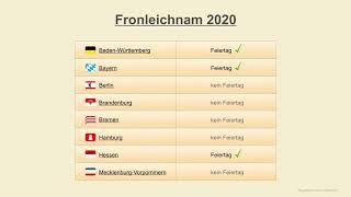 Fronleichnam 2020 - datum feiertage deutschland