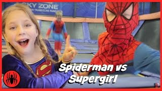 little spiderman vs supergirl trampoline park fun in real life trampoline comic   superherokids