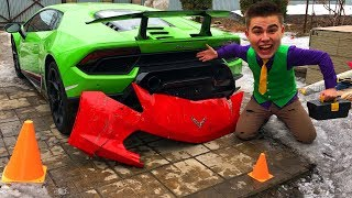 Mr. Joe found Bumper from Corvette in Car Service & Started Race on Lamborghini Huracan for Kids