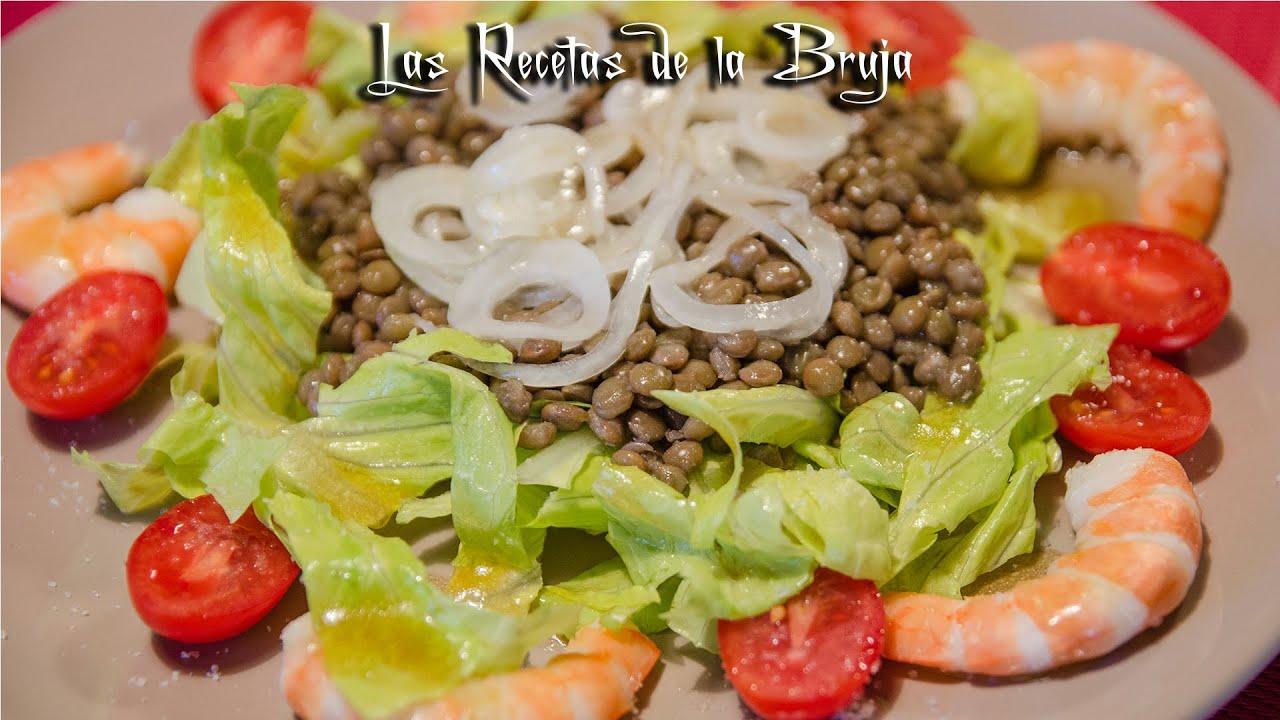 Ensalada de lentejas con langostinos recetas de cocina - Ideas para cenas sanas ...
