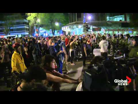 Raw Video: Mass protest arrests in Montreal